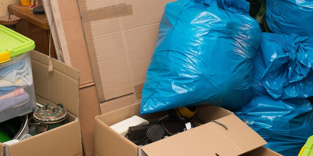 Boxes and bags in need of hoarder junk removal services